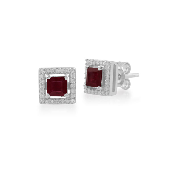 White Gold Ruby & Diamond Stud Earrings Image 1