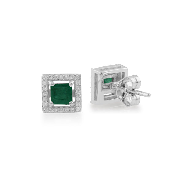 White Gold Emerald & Diamond Stud Earrings Image 2