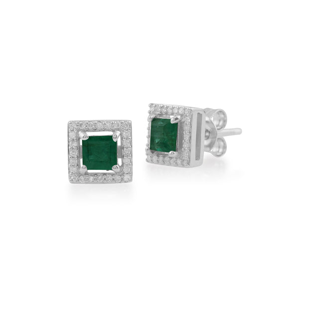 White Gold Emerald & Diamond Stud Earrings Image 1