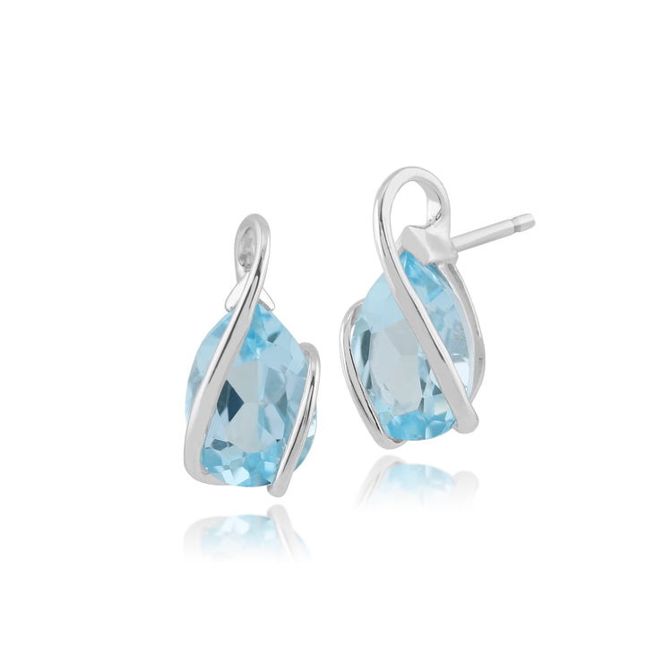 10ct White Gold Blue Topaz Single Stone Wrapped Stud Earrings