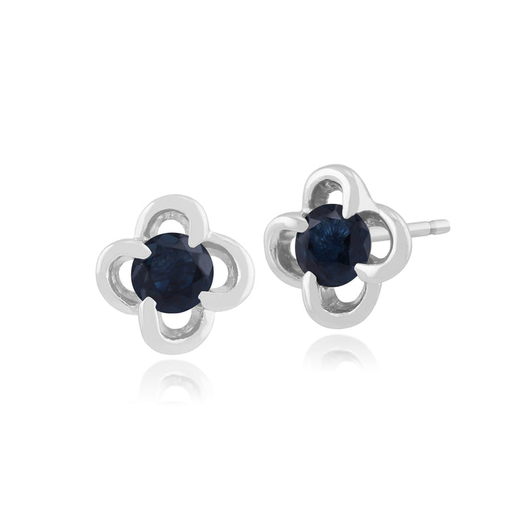 Floral Round Sapphire & Diamond Halo Stud Earrings in 9ct White Gold