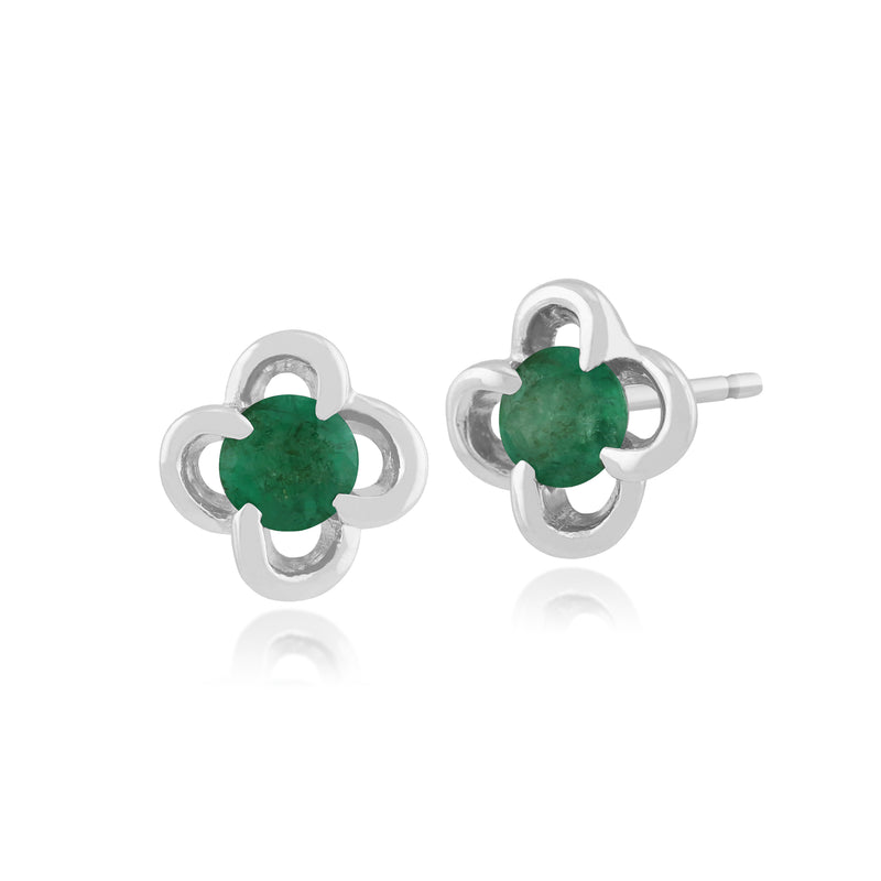 Floral Round Emerald & Diamond Halo Stud Earrings in 9ct White Gold