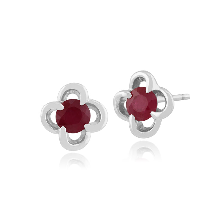 Floral Round Ruby & Diamond Halo Stud Earrings in 9ct White Gold