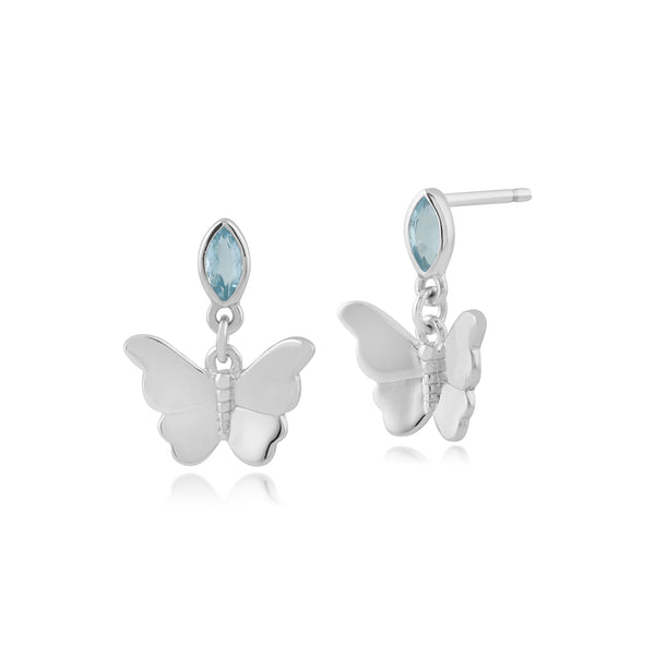 Classic Marquise Blue Topaz Butterfly Drop Earrings in 9ct White Gold