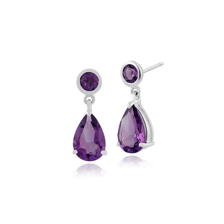 Classic Pear & Round Amethyst Drop Earrings in 9ct White Gold