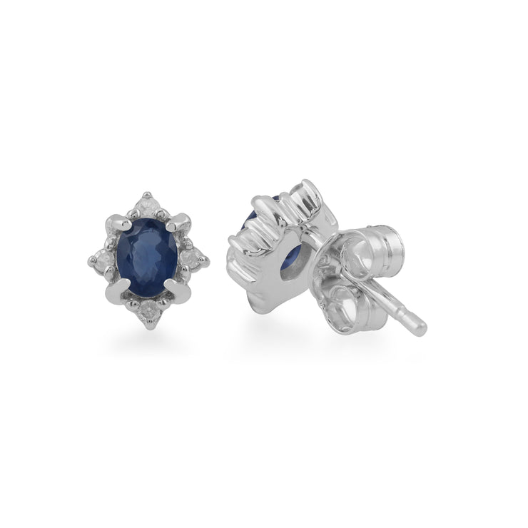 Classic Oval Sapphire & Diamond Cluster Stud Earrings in 9ct White Gold