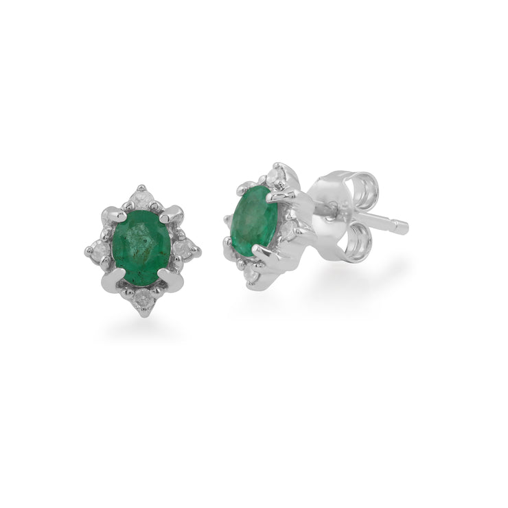 Classic Oval Emerald & Diamond Cluster Stud Earrings in 9ct White Gold