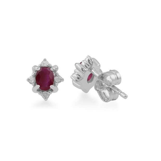 Classic Oval Ruby & Diamond Cluster Stud Earrings in 9ct White Gold