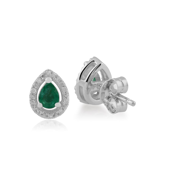 Classic Pear Emerald & Diamond Halo Stud Earrings in 9ct White Gold