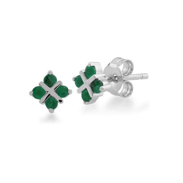 Floral Round Emerald Clover Kiss Stud Earrings in 9ct White Gold