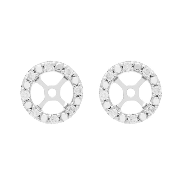 Classic Round Black Onyx Stud Earrings and Detachable Diamond Round Ear Jacket in 9ct White Gold