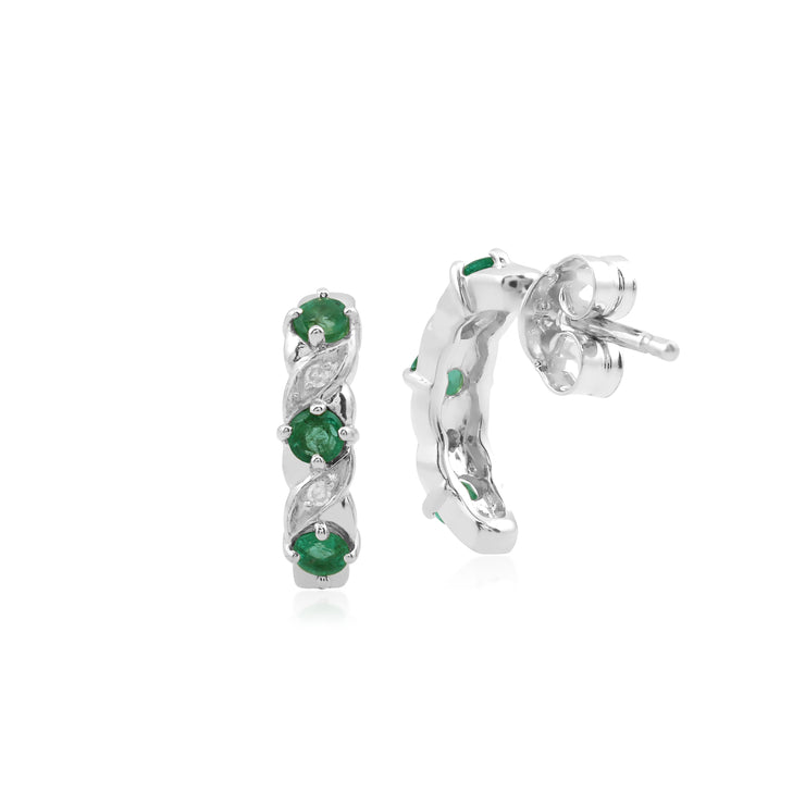 10ct White Gold Emerald and Diamond Half Hoop Earrings