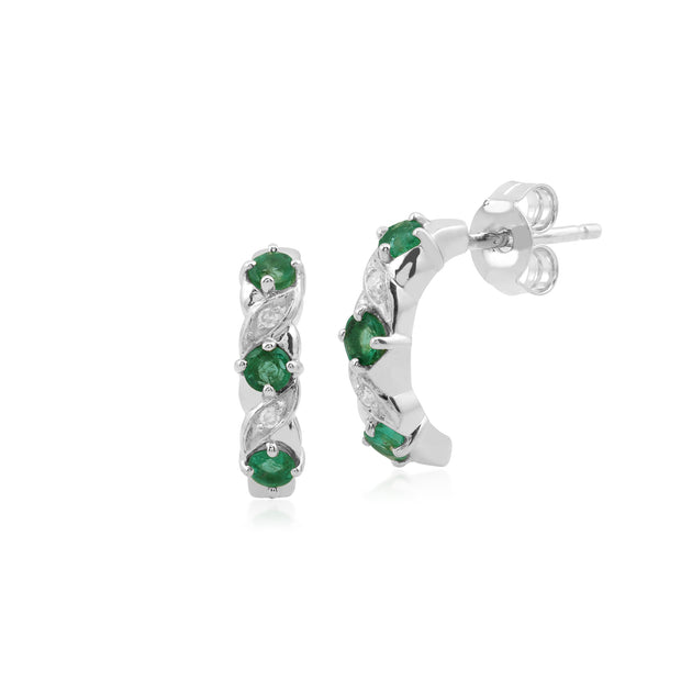 Classic Round Emerald & Diamond Half Hoop Earrings in 9ct White Gold