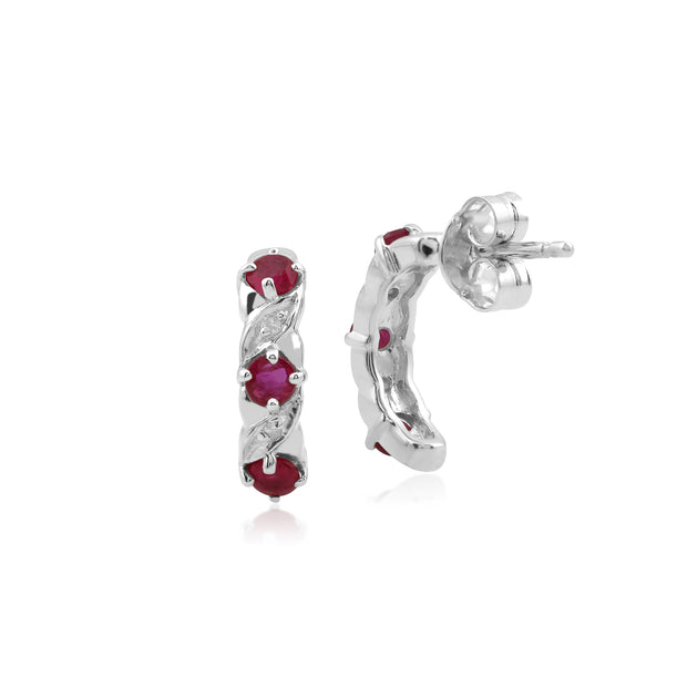 Classic Round Ruby & Diamond Half Hoop Earrings in 9ct White Gold