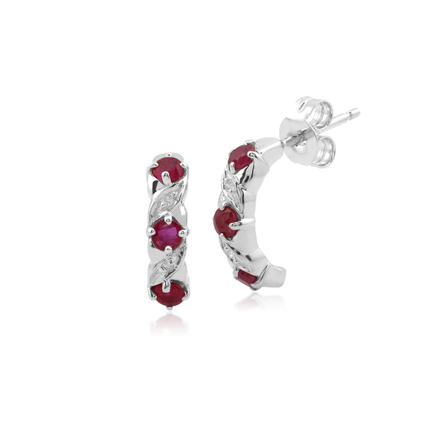 Classic Round Ruby & Diamond Half Hoop Earrings & Half Eternity Ring Set in 9ct White Gold