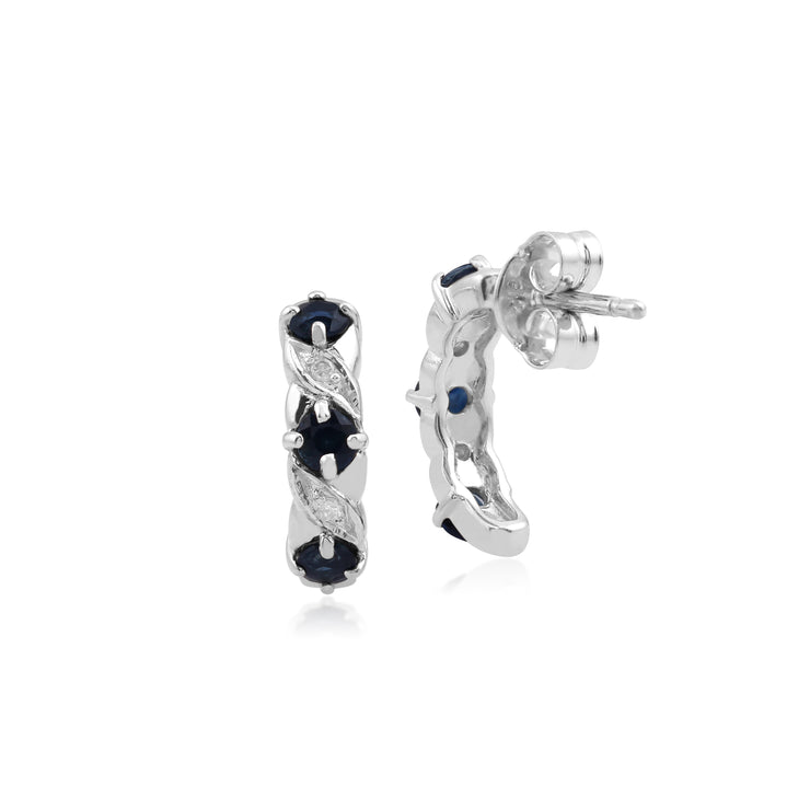 10ct White Gold Sapphire and Diamond Half Hoop Earrings