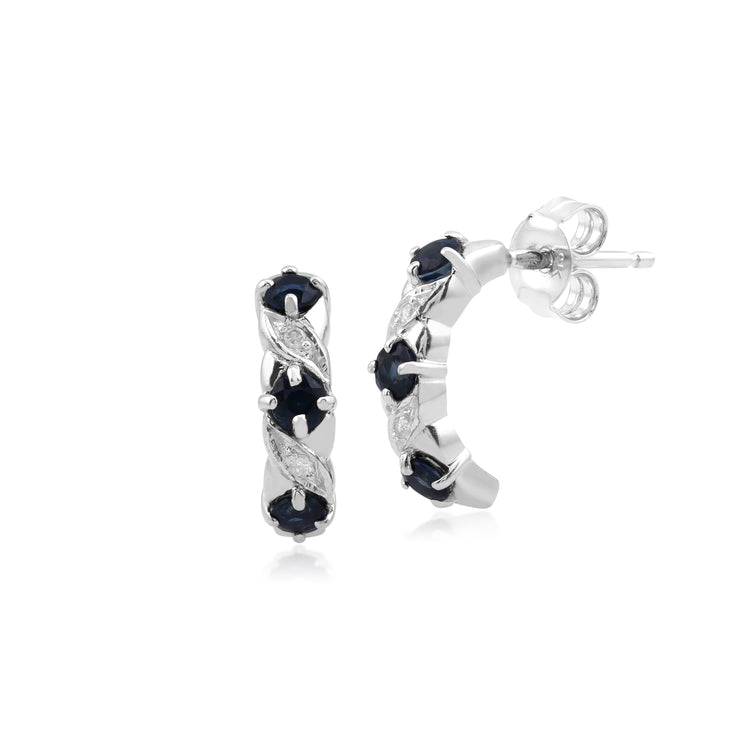 Classic Round Sapphire & Diamond Half Hoop Earrings in 9ct White Gold
