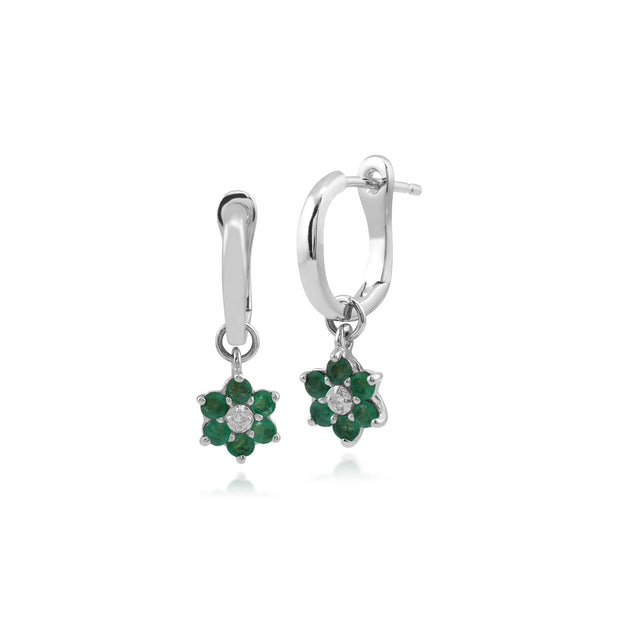 Floral Round Emerald & Diamond Omega Back Hoop Earrings in 9ct White Gold