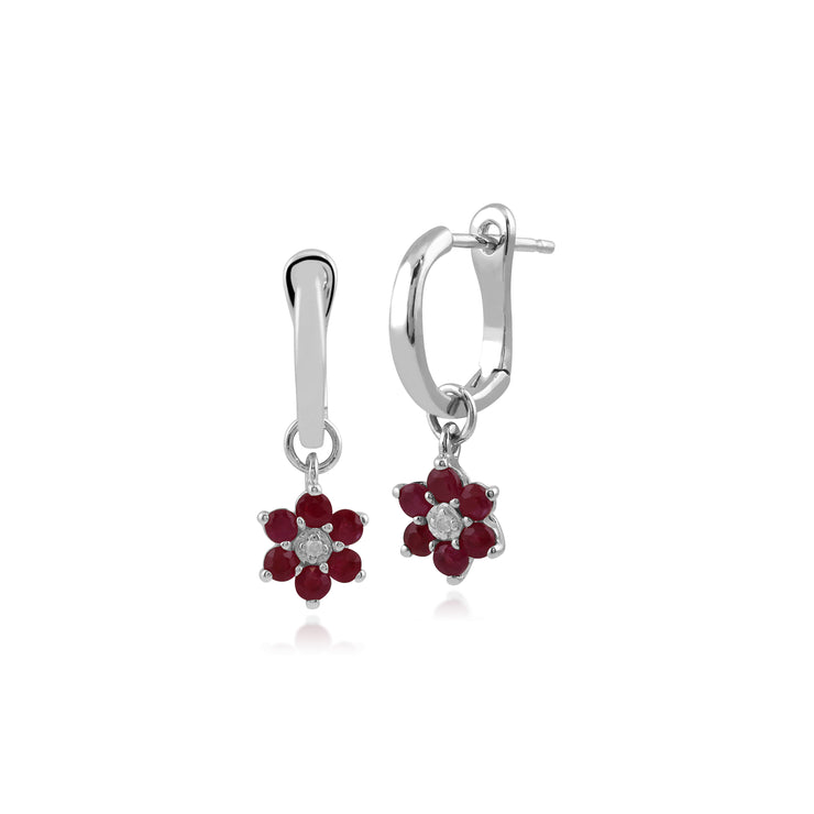 Floral Round Ruby & Diamond Omega Back Hoop Earrings in 9ct White Gold