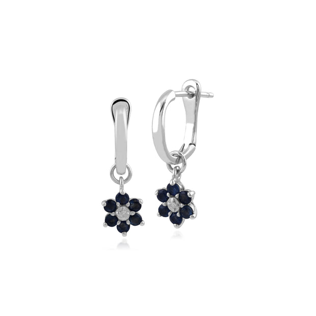 Floral Round Sapphire & Diamond Omega Back Hoop Earrings in 9ct White Gold