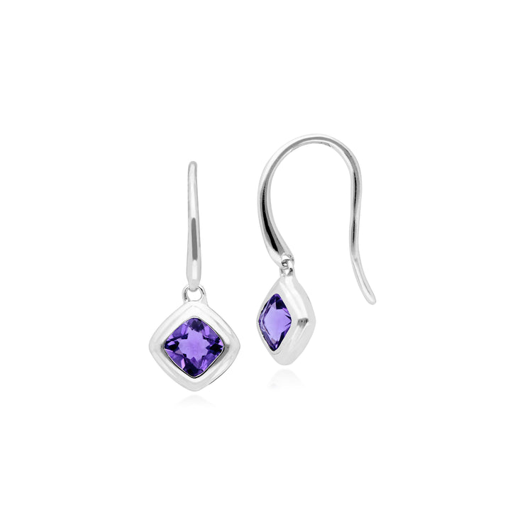 Classic Cushion Amethyst Bezel Set Drop Earrings in 9ct White Gold
