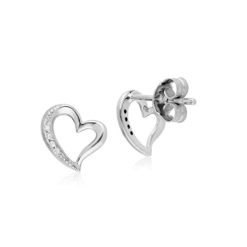 Classic Round Diamond Open Love Heart Stud Earrings in 9ct White Gold