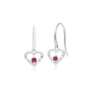 Classic Round Ruby & Diamond Love Heart Shaped Drop Earrings in 9ct White Gold