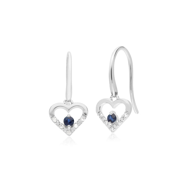 Classic Round Sapphire & Diamond Love Heart Shaped Drop Earrings in 9ct White Gold
