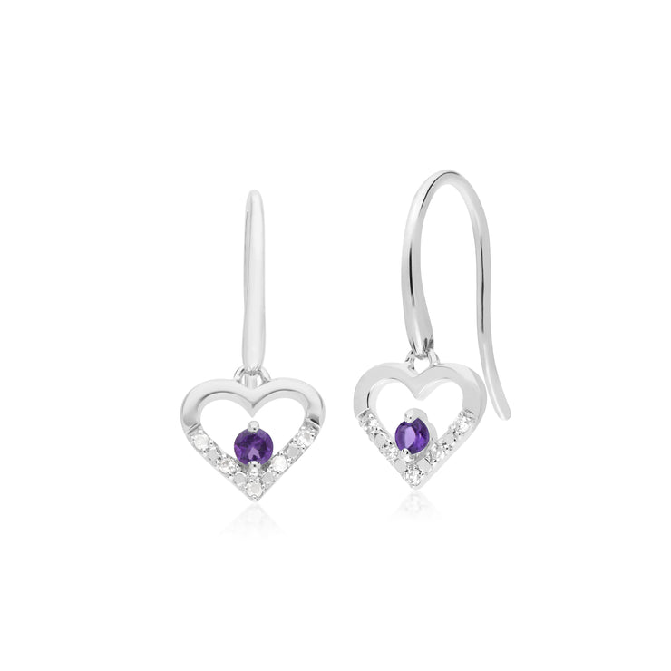 Classic Round Amethyst & Diamond Love Heart Shaped Drop Earrings in 9ct White Gold