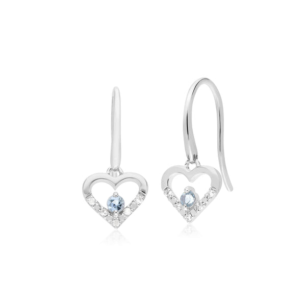 Classic Round Aquamarine & Diamond Love Heart Shaped Drop Earrings in 9ct White Gold