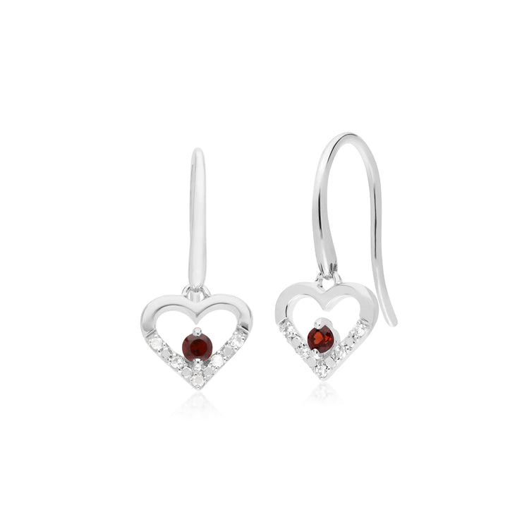 Gemondo 9ct White Gold Single Garnet & Diamond Heart Drop Earrings