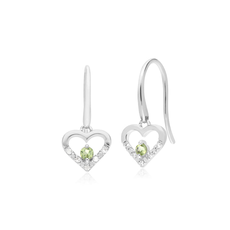 Classic Round Peridot & Diamond Love Heart Shaped Drop Earrings in 9ct White Gold
