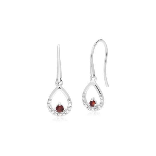 Classic Round Garnet & Diamond Pear Drop Earrings in 9ct White Gold