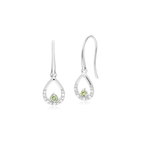 Classic Round Peridot & Diamond Pear Drop Earrings in 9ct White Gold
