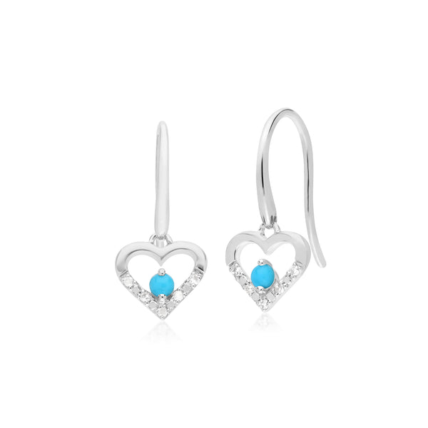 Classic Round Turquoise & Diamond Love Heart Shaped Drop Earrings in 9ct White Gold
