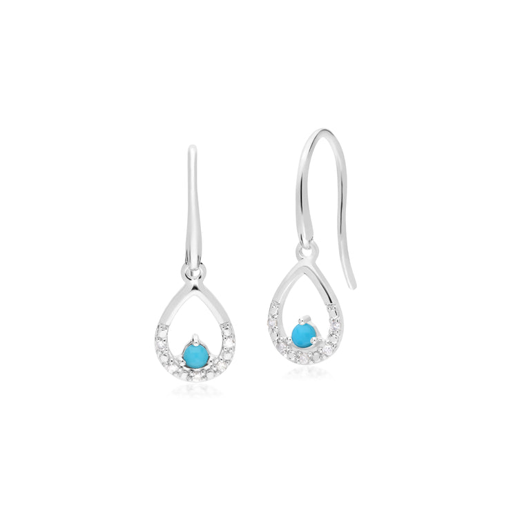 Classic Round Turquoise & Diamond Pear Drop Earrings in 9ct White Gold