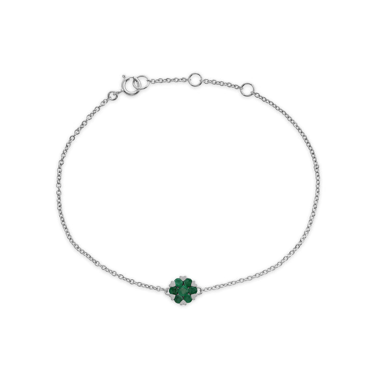Floral Round Emerald Heart Claw Set Cluster Bracelet in 9ct White Gold