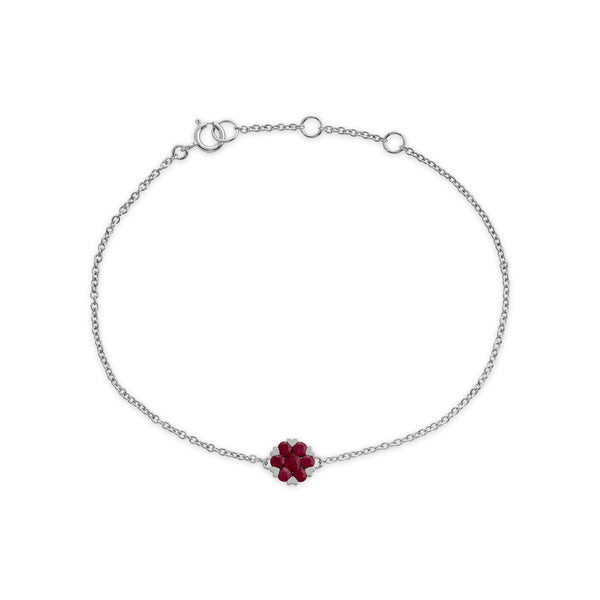 Floral Round Ruby Heart Claw Set Cluster Bracelet in 9ct White Gold