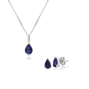 Classic Pear Iolite Single Stone Stud Earrings & Pendant Set in 9ct White Gold