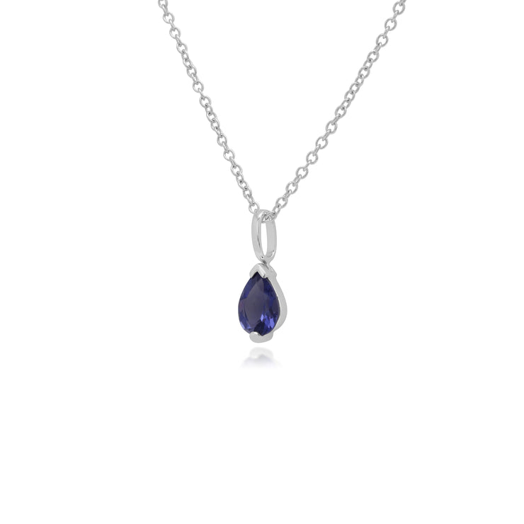 Classic Pear Iolite Claw Set Single Stone Pendant in 9ct White Gold