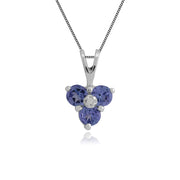 Floral Round Tanzanite & Diamond Pendant in 9ct White Gold