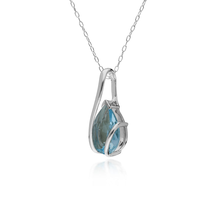 10ct Yellow Gold Blue Topaz Two Stone Pendant on 45cm Chain