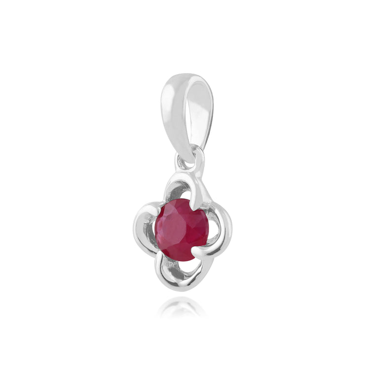 Floral Ruby & Diamond Halo Pendant Image 2
