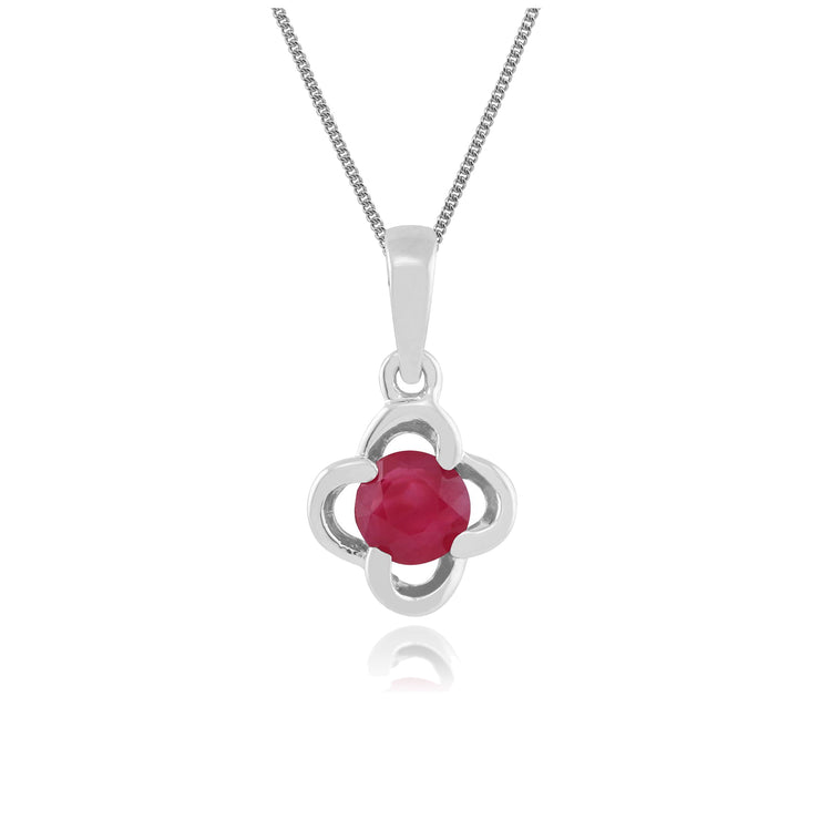 Floral Ruby & Diamond Halo Pendant Image 1