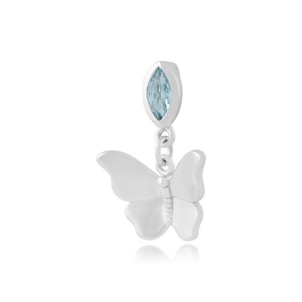 Classic Blue Topaz Butterfly Pendant Image 2