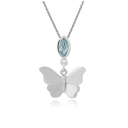Classic Marquise Blue Topaz Butterfly Pendant in 9ct White Gold