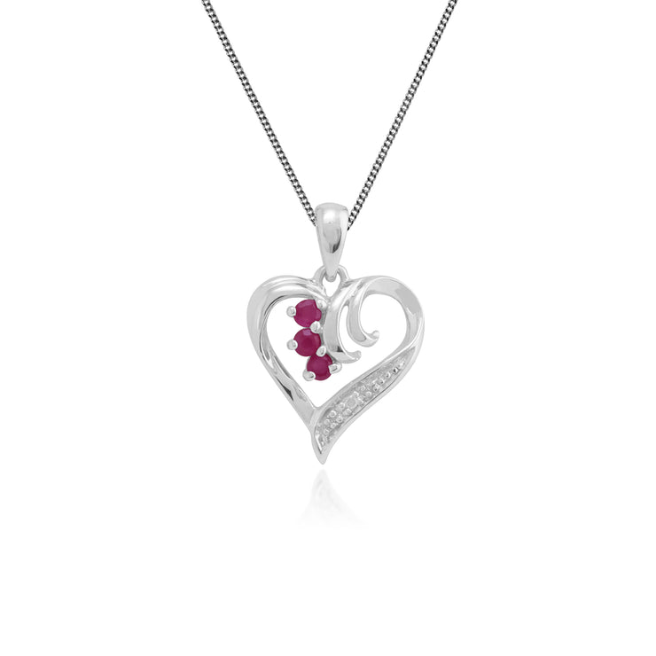 Classic Round Ruby & Diamond Swirled Heart Pendant in 9ct White Gold
