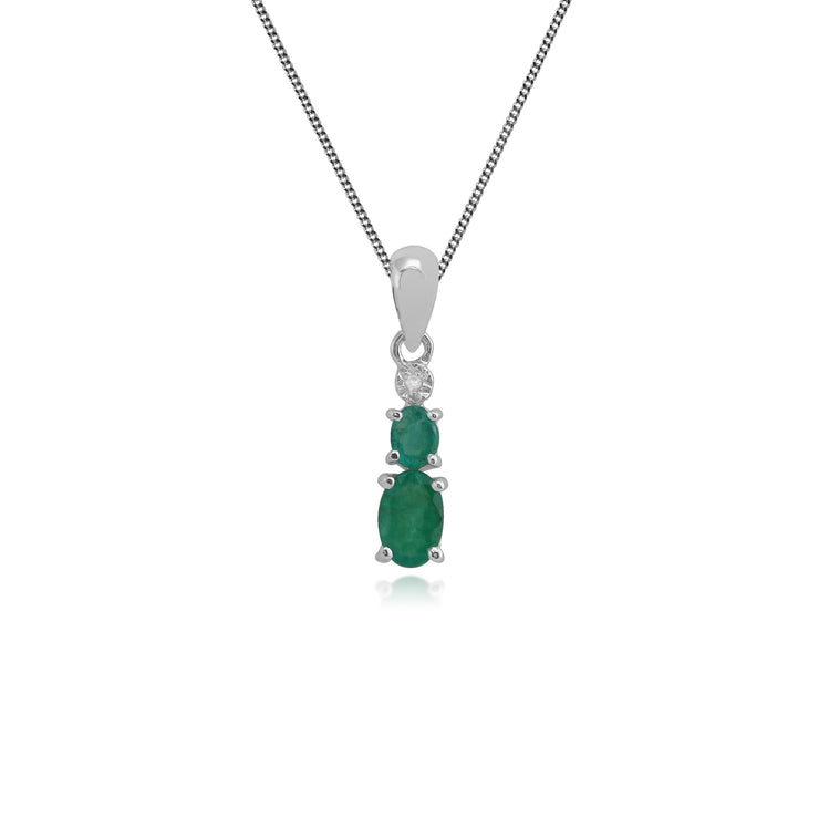 Classic Oval Emerald & Diamond Gradient Pendant in 9ct White Gold