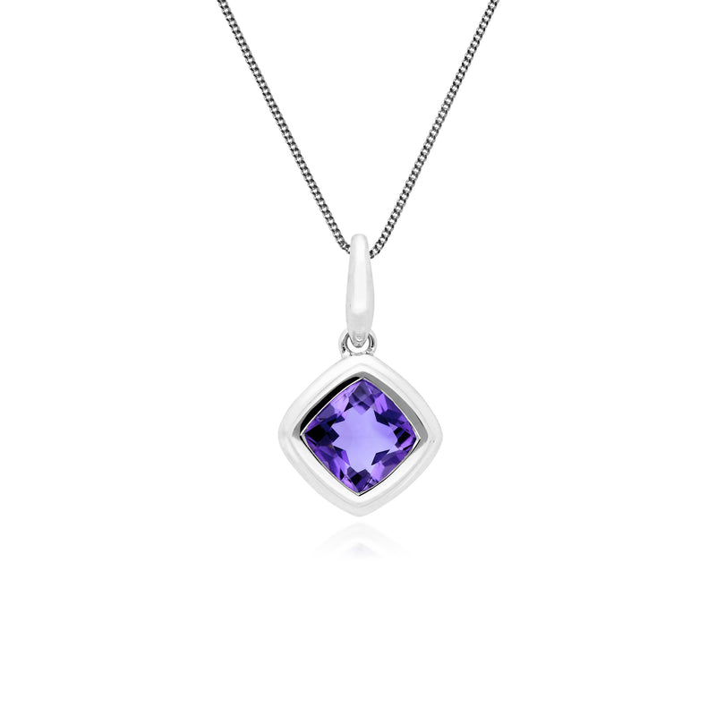 Classic Cushion Amethyst Bezel Set Pendant in 9ct White Gold
