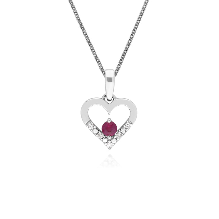 Classic Round Ruby & Diamond Love Heart Shaped Pendant in 9ct White Gold